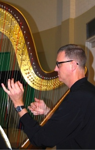Harpist Owen Torr performs at Fabulously French 11 August 2013