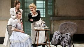 Nicole Car (left) as Fiordiligi, Anna Dowsley as Dorabella and Taryn Fiebig as Despina in Opera Australia's Cosi Fan Tutte. Photo: Prudence Upton
